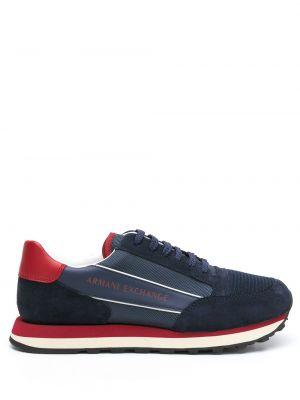Синие кожаные кроссовки Armani Exchange