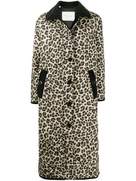Стеганое бежевое длинное пальто с длинными рукавами Mackintosh