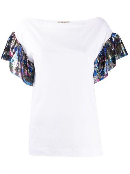 С рукавами белая футболка с пайетками Emilio Pucci