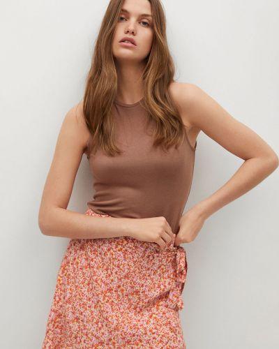Różowa spódnica mini w kwiaty z wiskozy Mango