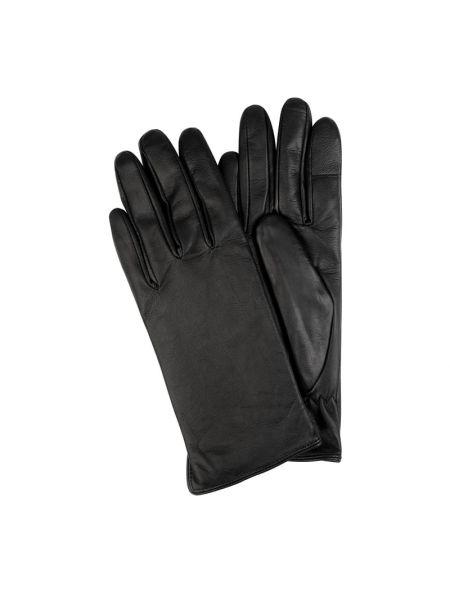 Rękawiczki skorzane - czarne Eem-fashion