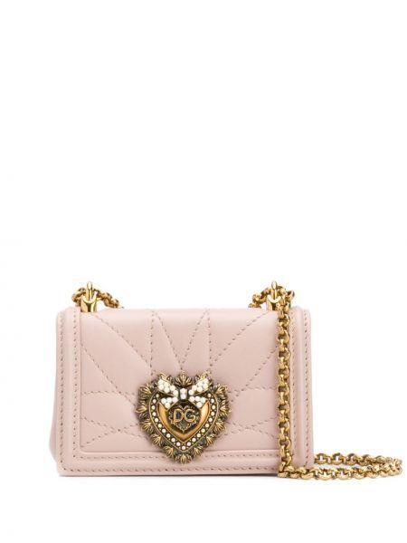 Стеганая розовая сумка на цепочке с жемчугом из натуральной кожи Dolce & Gabbana