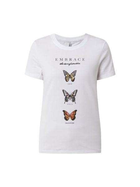 Biała koszulka z printem Only