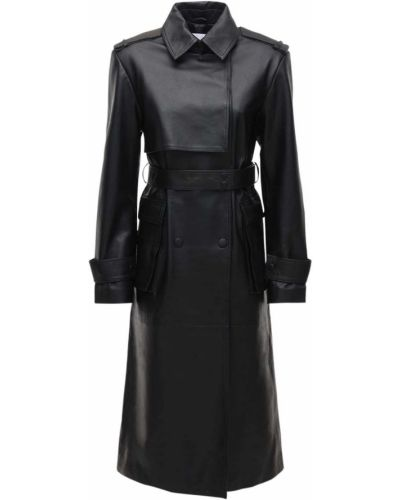 Czarny płaszcz skórzany z paskiem Remain