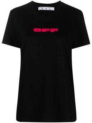Bawełna z rękawami czarny koszula okrągły Off-white