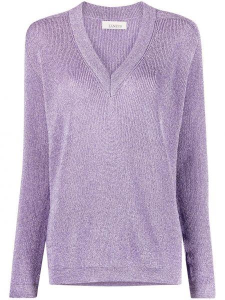 Фиолетовый свободный вязаный длинный свитер Laneus