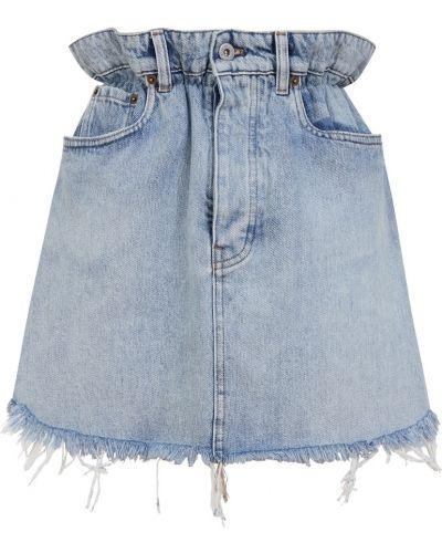 Хлопковая прямая юбка мини с поясом Miu Miu