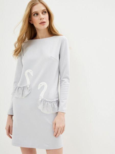Прямое серое платье Adzhedo