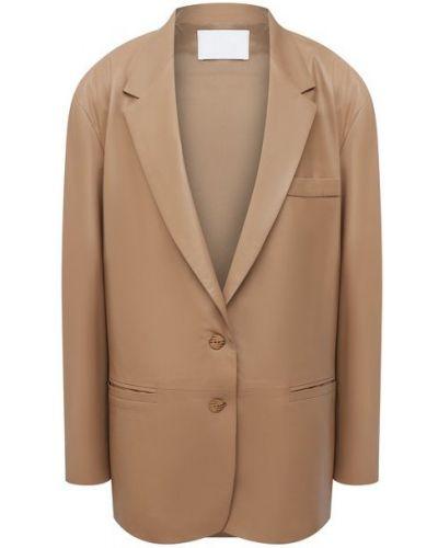 Кожаный пиджак - бежевый Drome