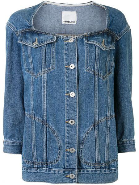 Хлопковая синяя джинсовая куртка на пуговицах Ground Zero