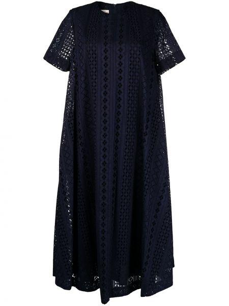 Niebieska sukienka wieczorowa asymetryczna krótki rękaw Baum Und Pferdgarten