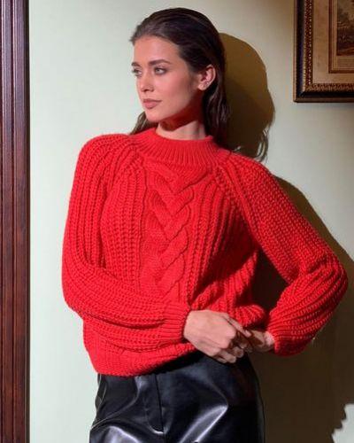 Повседневный шерстяной вязаный свитер с косичкой Vovk