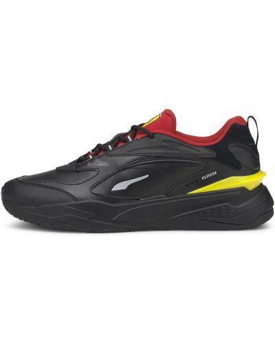 Кожаные черные кроссовки Ferrari на шнуровке Puma