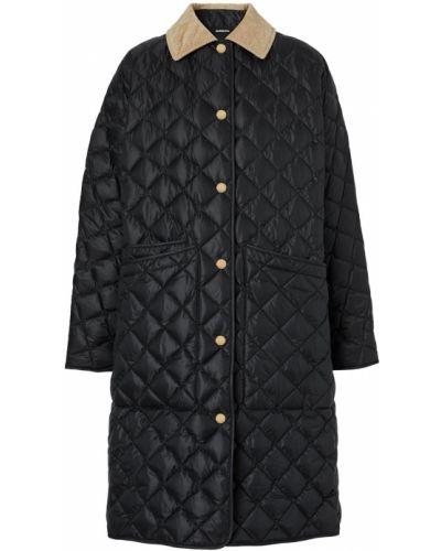 Стеганое черное длинное пальто с воротником Burberry