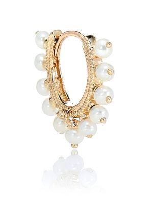 Żółte złote kolczyki perły Maria Tash