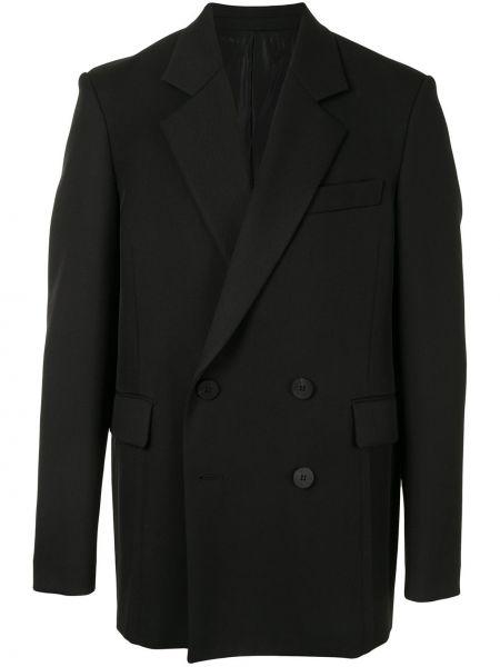 Черный свободные пиджак с карманами на пуговицах Wooyoungmi