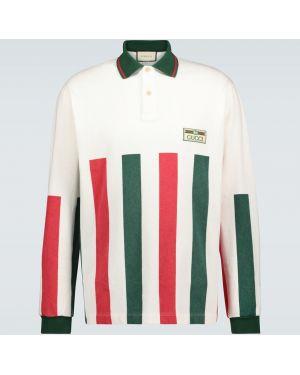 Koszula bawełniana w paski z haftem Gucci