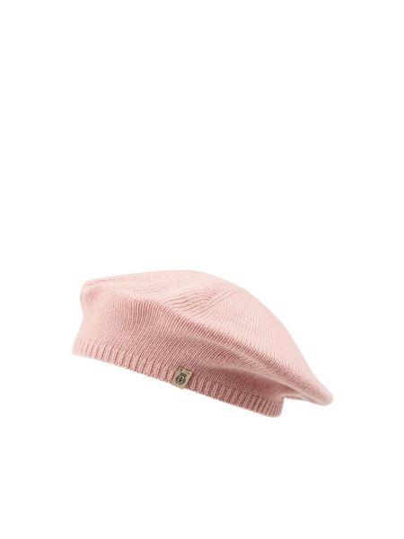Różowy prążkowany beret wełniany Roeckl