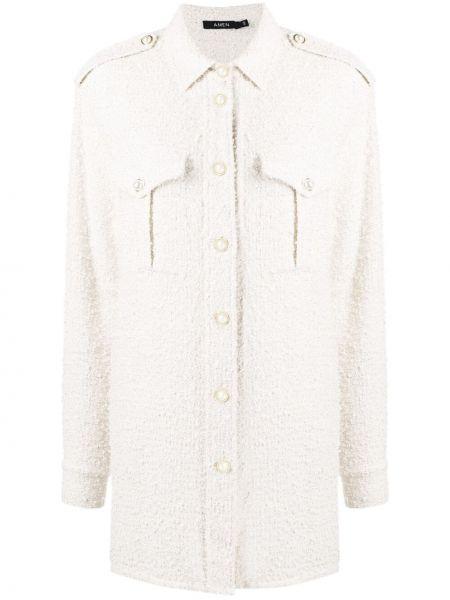 Хлопковая белая классическая рубашка с длинными рукавами Amen.