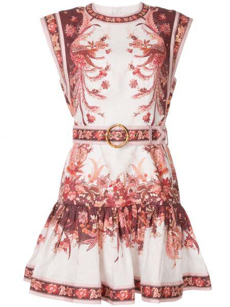 Платье мини с цветочным принтом на молнии Zimmermann