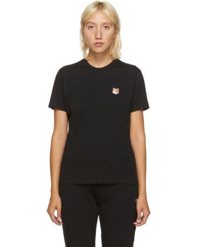 Хлопковая черная рубашка с коротким рукавом с вышивкой с воротником Maison Kitsuné