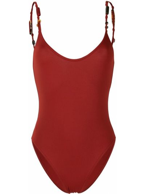 Пляжный красный купальник с шортами с вырезом Eres