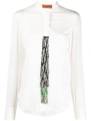 Шелковая с рукавами белая рубашка Missoni