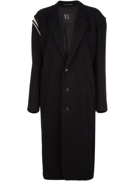 Черное пальто классическое оверсайз с капюшоном Y's