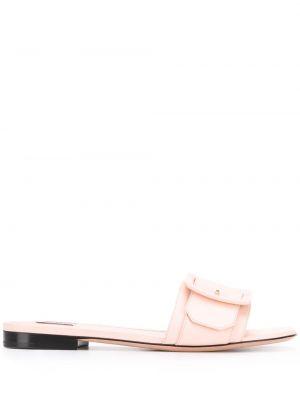 Różowe sandały skorzane płaska podeszwa Bally