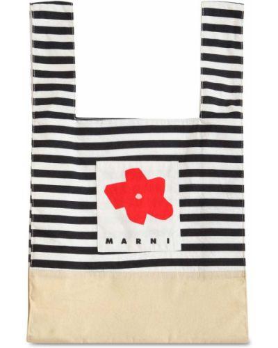Bawełna bawełna torba kosmetyczna w paski z łatami Marni Junior