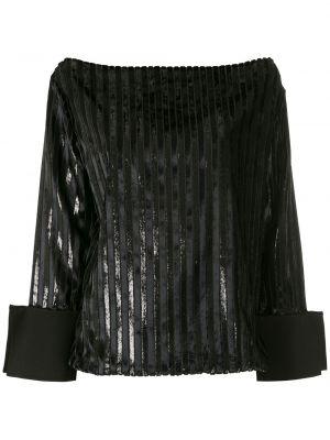 С рукавами черная блузка с длинным рукавом свободного кроя с вырезом Gloria Coelho