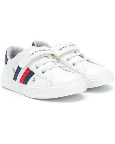 Biały koronkowa sneakersy na sznurowadłach na pięcie Tommy Hilfiger Junior