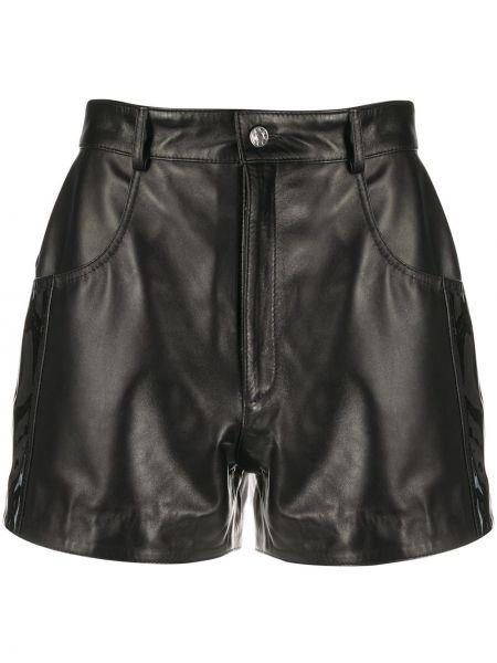 Кожаные черные шорты с карманами на пуговицах Manokhi