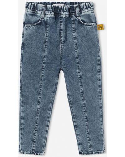 Джинсовые синие джинсы на резинке с нашивками Gloria Jeans