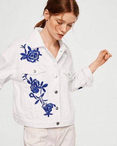 Белая джинсовая куртка Mango