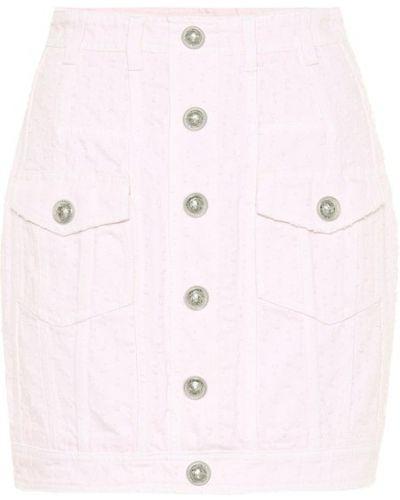 Плиссированная розовая джинсовая юбка Balmain
