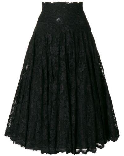 Черная расклешенная ажурная юбка Olvi´s