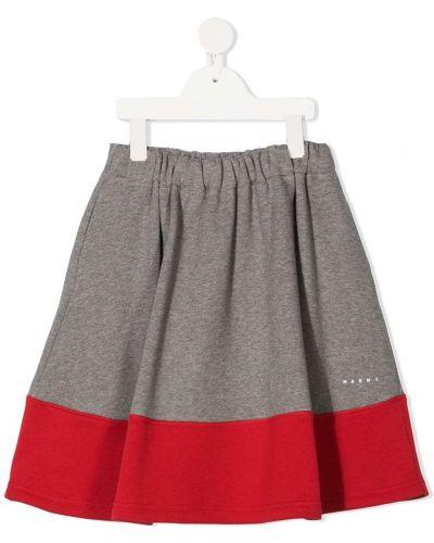Хлопковая серая с завышенной талией юбка со вставками Marni Kids