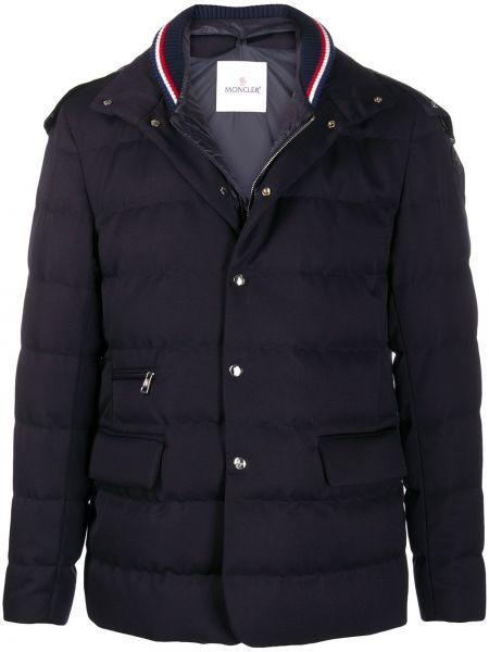 Puchaty niebieski kurtka z kapturem z kieszeniami z długimi rękawami Moncler