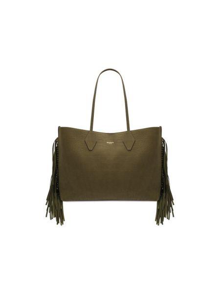 Кожаная сумка шоппер для полных Balmain