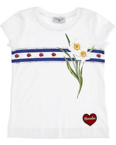Biała koszulka bawełniana Monnalisa