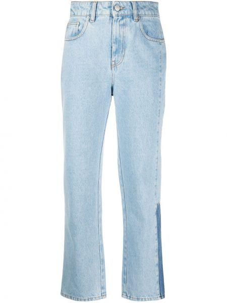 Хлопковые синие с завышенной талией прямые джинсы на молнии Mcq Alexander Mcqueen