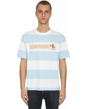 Niebieski t-shirt w paski bawełniany Calvin Klein Established 1978