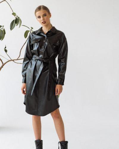 Черное тонкое кожаное платье на пуговицах Vovk