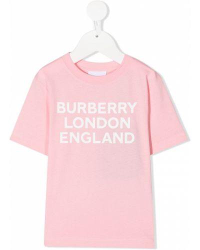 Розовая прямая с рукавами футболка Burberry