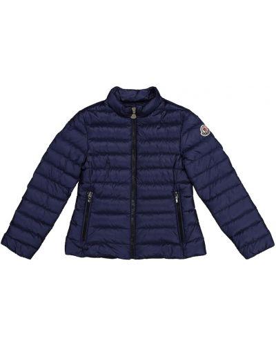 Теплая пуховая синяя куртка Moncler Enfant