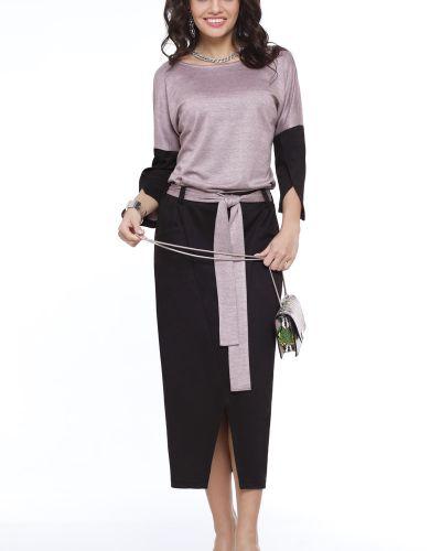 С рукавами трикотажное платье макси с поясом Dstrend