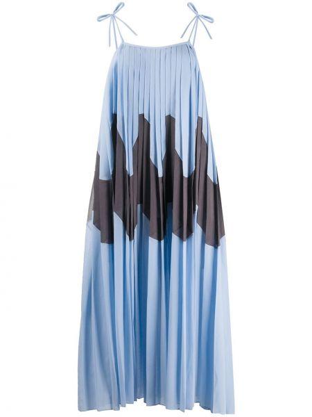 Платье миди плиссированное черное Jil Sander