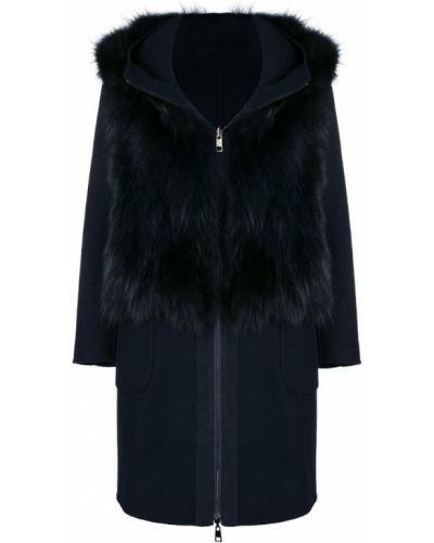 Синее длинное пальто с капюшоном S.w.o.r.d 6.6.44