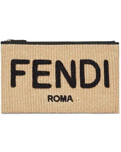 Złota beżowa kopertówka z haftem Fendi